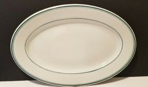 SHENANGO CHINA, 13 x  9 inch Green Stripes Oval Platter RESTAURANT WARE 1940's ?