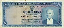 Turkey P-155 5 lira (1959)