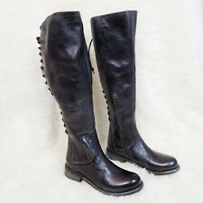 Bed Stu Surrey Tall Riding Boots Black Rustic Blue Lace Up Back