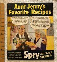 Vintage 1943 SPRY Vegetable Shortening Aunt Jenny's Favorite Recipes Book COLOR