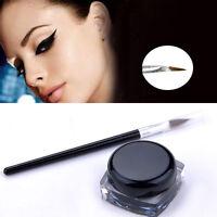 Charming Waterproof Black Eye Liner Gel Cream Makeup Cosmetic Eyeliner +Brush