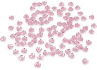 200 X PINK HEART CRYSTALS DIAMANTE GEMS RHINESTONE EMBELLISHMENT 6MM FLAT BACK