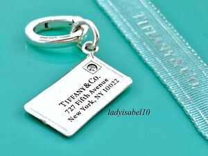Tiffany & Co Sterling Silver Envelope Diamond Charm Oval Clasp Gift Pouch 21127B
