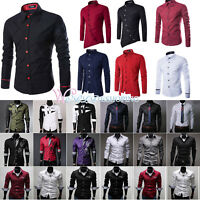 Fashion Men's Luxury Slim Fit Casual Shirts Long Sleeve Formal Dress Shirt Tops