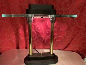 "Vintage Modernist ART DECO Style DESK LAMP Light 15"" Black w/Gold DIMMABLE"