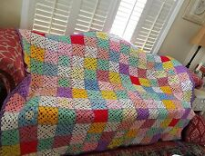 Vintage Handmade Crocheted Afghan Pastel Red Yellow Granny Square Throw Blanket