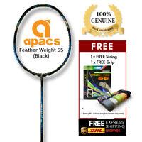 Apacs Feather Weight 55 Black 8UG2 Lightest Badminton Racket[FREE String & Grip]