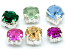 100 Mini Rhinestone Beads 5mm Set in Metal Finding - SC1923