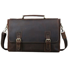 "14"" Laptop Briefcase Vintage Genuine Leather Mens Messenger Shoulder Attache Bag"