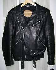 MENS Black Leather Motorcycle Bikers Jacket Made in Canada Sz.Large    GAY Style