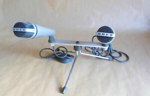 UHER Tischmikrofon M634 Dynamisch Stereo 2 Stab-Richt-Mikrofone M534 vintage