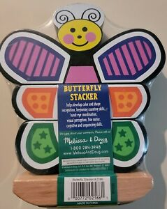 NEW Melissa & Doug Classic Toy Butterfly Stacker Toy Wooden Stacking 18+ Mo's