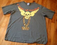 SOF~SONGS OF FREEDOM~2XL T-SHIRT~OLIVE GREEN~WINGED SKULL~GOLD STUDDED