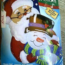 "16"" Design Works Santa Hugging Snowman Christmas Stocking Kit 5094 Felt Sequins"