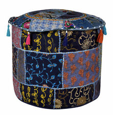 """22"""" Blue Handmade Vintage Round Pouf Cover Ottoman Footstool Seat Covers Indian"""