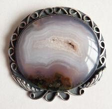 Broche bijou ancien en argent massif + agate géode