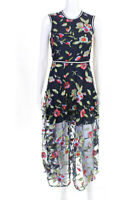 Cynthia Rowley  Womens Lorelei Sleeveless Embroidered Mesh Dress Navy Size 2