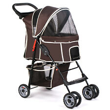 Brown 4 Wheels Pet Stroller Folding Dog Cat Puppy Carrier Strolling Cart Travel