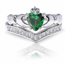 Emerald Green Claddagh Heart Simulated Diamond Celtic Sterling Silver Ring Set
