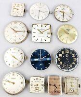 Lot Of (13) Vintage Mens Quality Watch Movements - Gubelin, Eterna, Vulcain...