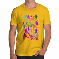 Twisted Envy Men's Field Hockey Rainbow Silhouettes Printed Cotton T-Shirt