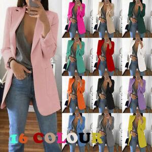 Women's Long Collar Blazer Suit Jacket Ladies Formal Slim Coat Cardigan Outwear
