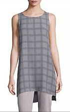 NEW Eileen Fisher Ash Plaid Printed Silk Georgette Crepe Tunic PP/PTP $278