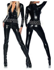 Womens Costume Wet Look Black Catsuit Bodysuit with Front Buttons One Size