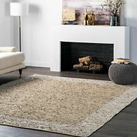 nuLOOM Handwoven Solid Striped Border Neta Beige Area Rug