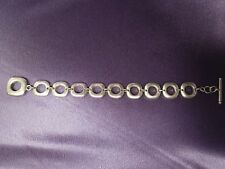 Large Mid Century Modern Open Link Sterling Silver Bracelet w/ Toggle Clasp, 35g