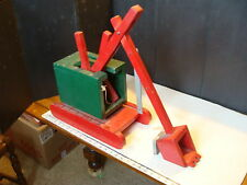 vintage Wooden toy: LARGE STEAM SHOVEL, GREAT red & green OLD