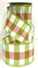 "Taffeta Check Wired Ribbon~Green, Pink, White~2 1/2"" W x 10 yd"