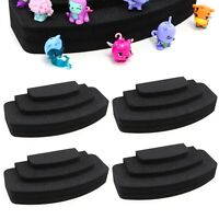 "4 Toy Figure Pyramid Stands Fits Shopkins Hatchimals Black Foam 3.5"" x 8"" 3 Tier"