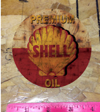 "Premium Shell Oil 4"" Rusty Vintage look distressed Vinyl Decal Sticker"