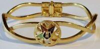 bracelet bijou vintage rigide couleur or avec déco central émail couleur 4069