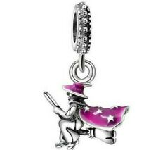 HALLOWEEN WITCH SCARY BROOMSTICK BROOM  SILVER CHARM GENUINE BARGAIN SALE !