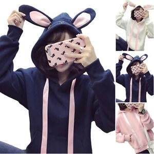 Kawaii Clothes Hoodies Sweater Harajuku Japan Korea Rabbit Bunny Sweatshirts Ear