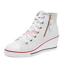 Preppy  Canvas Shoes HighTop LaceUp Wedge Heels Womens Sneakers Plimsoll UK Size