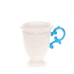 SELETTI TAZZA I'WARES Collection Fine Porcelain Mug Embossed Two Tone