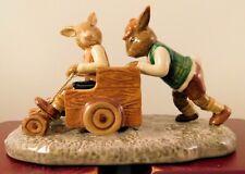 "Royal Doulton Bunnykins Figurine - ""Billycart"" Db491 - W/Box & Coa"