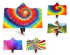 Rainbow Tie-dye Geometric Spiral Mandala Warm Hooded Blanket Cloak Sofa Throw