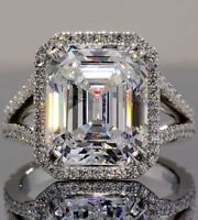 Huge 17 Ct Classic Emerald Cut Engagement Cocktail Ring 14k White Gold Finish