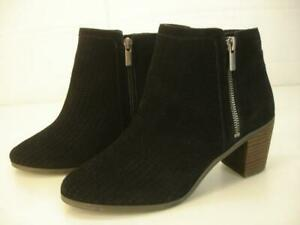 Women's 8 M Lucky Brand Pagira Black Perforated Suede Leather Ankle Boots Bootie