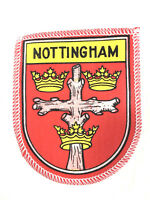 Nottingham England Patch Travel Souvenir Patch Town Flag Embroidered 1970s Vtg