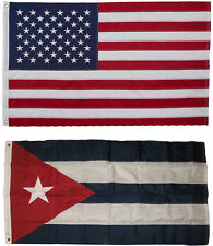 USA and Cuba Flag 3x5 EMBROIDERED 2 double sided Flag Wholesale Lot