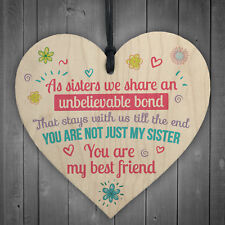 Unbelievable Bond Shabby Chic Wooden Heart Sign Gift for Big Little SIS Sister