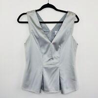 Veronika Maine Womens Blouse Top Metallic Silver Satin Short Sleeve Size 10