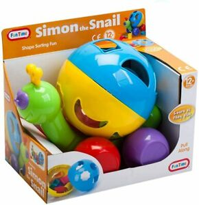 Simon The Snail Shape Sorter Pull Along Kids Colour Toy Age 12+months Assorted