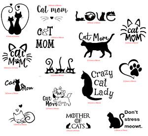 cat mom crazy decal car sticker transfer home wall decoration