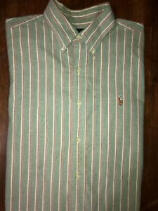 Men's Polo Ralph Lauren Classic Fit Long Sleeve Striped Button Front Shirt Large